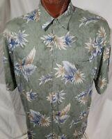 Pierre Cardin Men's Hawaiian Aloha Rayon Shirt Short Sleeve Button Up Green 2XL