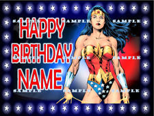 WONDER WOMAN: Personalized edible cake toppers FREE SHIPPING in Canada