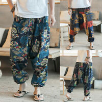 Plus Size Men Hip-Hop Baggy Harem Pants Floral Sports Yoga Trousers Slacks S-5XL