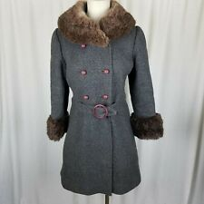 Vintage 50s Gray Wool Belted Skater Fur Muff Collar MCM Peacoat Coat Womens XS S