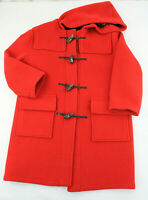 BURBERRY London VTG Red Wool Toggle Nova Check Duffle Coat Long Women's Medium