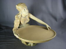 Plaster Vintage Gypsy Figure Fortune Teller Statue Calling Card Pin Tray Dish