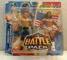 Mattel WWE Battle Pack John Cena Ultimate Warrior Action Figures + USA FLAG NEW
