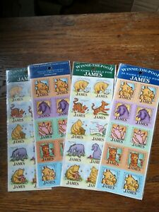 80 Winnie The Pooh Name Labels - JAMES