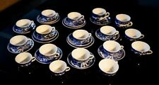 Vintage Miniature Blue Willow China Trios, Teacups And Saucers