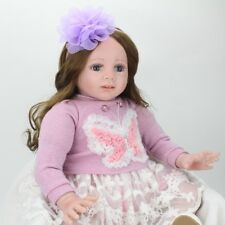 24'' REBORN TODDLER VINYL SILICONE REAL LIFE NEWBORN BABY GIRL DOLLS+CLOTHES