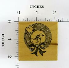 Wood Block Rubber Stamp: Goose, Wreath, Fall