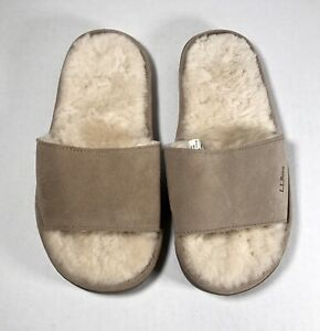 LL BEAN Tan Suede Shearling Lined Open Toe Slippers Slides Women's Size 7