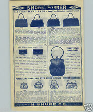 1907 PAPER AD Pyrographic Burned on Teddy Bear Design Leather Purse Hand Bag