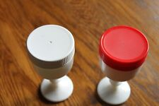 """2 Vintage WHITE MILK GLASS JAR'S footed with lid. threaded rim 4 3/4"""" tall"""