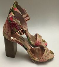 Ted Baker Florsl Block High Heels Ankle Strap Sandals Sz.37.5- Eur, 36.5- Usa