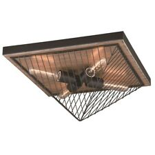Vaxcel Dearborn 16' Flush Mount, Black Iron with Burnished Oak - C0148