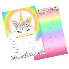 10Pcs Unicorn Invitations Rainbow Birthday Party Invitations Cards with Envelope