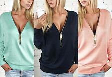 Maglia Donna Scollo Chiusura Lampo Regolabile Woman Zip V Neck T-shirt 561058 P