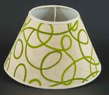 Lampenschirm E14  Tischlampe Beige Grün 70er Jahre Stil Retro mit Applikationen