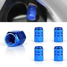 4pcs Car SUV Pickup Wheel Tire Valve Stem Dust Aluminum Airtight Cover Blue Caps