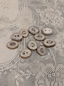 10 Vintage Bone Deer Horn Buttons