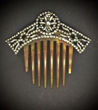 Faux Tortoise Rare Beauty Circa 1830s Antique Diadem Tiara Hair Comb Cut Steel