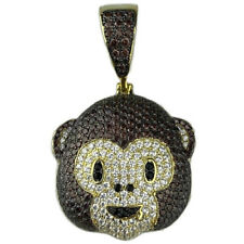 Real Solid 925 Sterling Silver w/ Gold Finish Iced Brown Monkey Emoji Pendant 1""