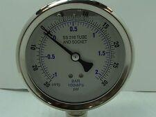 "201L-402CC 4"" Glycerin Filled Stainless Steel Gauge 1/2"" NPT LM 30/0/30 psi"