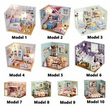 Diy Handcraft Doll House with Led Light Miniatures Furniture Kit Girl Gift Decor