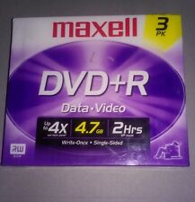 Maxell DVD+R 4.7 GB Write-Once Single Sided Discs 3-Pack New