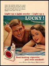 1958 Lucky Strike Sunbathing Couple Vintage Print Ad