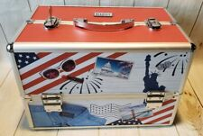 Beautify America Professional Makeup Cosmetic Organizer Train Case w/Key