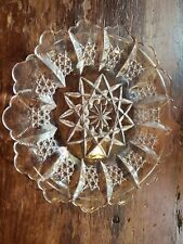 """Antique pressed glass 8"""" plate scalloped edge star pattern"""