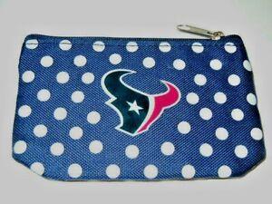 Houston Texans NFL Nylon Navy Polka Dot Coin Purse Key Ring Zipped ID Carry All