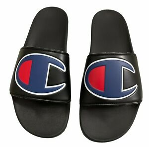 Champion Ipo CM100073M Mens Black Synthetic Slip On Slides Sandals Shoes Size 13