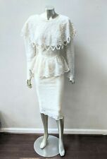 VINTAGE LACE DRAPED FRINGED NECKLINE ART DECO PEPLUM DEEP BACK PENCIL DRESS sz 5