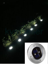 8-Pack Solar Powered Ground Marker Bright 2 LED Stainless Steel Pathway Light
