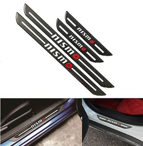 4x JDM Nismo Blk Carbon Fiber Car Door Welcome Plate Sill Scuff Cover Protector
