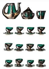 VALLAURIS Atelier 59 Service à Café Céramique Emaillé Vert & Cuivré Design 1960