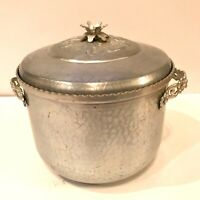Vintage Mid Century Forman Family Hammered Aluminum Ice Bucket w/ Recipes on Lid