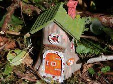 Solar Power Fairy House Welcome Garden Outdoor Ornament Soft LED's Log House