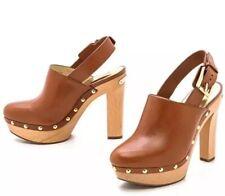 New Michael Kors Beatrice Sling Back Clog Platform Heel Studded Mule Brown 8.5