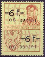 BELGIQUE - TIMBRE FISCAL - FRANCS 6 + 6 - ANNI '50