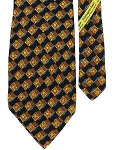 "Ermenegildo Zegna Men's 100% Silk 3D Neck Tie Orange Gray Black Multi 4"" x 59"""