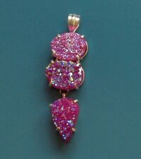 "3.25"" TITANIUM PINK DRUZY TRIPLE PLAY 925 SILVER PLATED PENDANT, SO GLITTERY!"