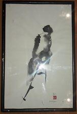 """LUIS NISHIZAWA 18"""" x 12"""" -ENDURE- GOUACHE INK PAINTING SIGNED & SEALED"""