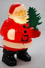 Vintage 1950s Christmas Glolite Santa Plastic Lighted Wall Plaque with Tree 7""