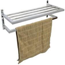 Chrome Wall Mounted Bathroom Towel Rail Rack Shelf 55cm