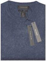 NWT TAHARI DK BLUE-GRAY PLUSH 100% CASHMERE PULLOVER CREW NECK SWEATER JUMPER L