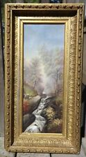 Antique long narrow original Landscape w/bridge oil painting in old frame