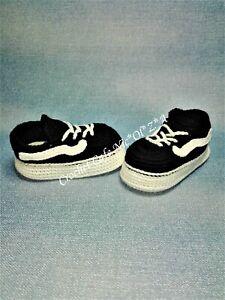Crochet Baby Athletik Sneakers, Crochet VANS OLD SKOOL Style Shoes Free shipping