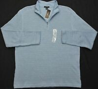 ALFANI Men's Neck-zip Pullover Spa Blue Stripe Sweater Size Large MSRP $59.50