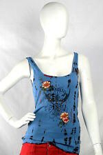 Purple Orchid Large $97.50 CAD Bright Blue Black Tank Top Roses Studs Paradiso