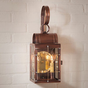 New Double Outdoor Wall lantern light in Antique Copper